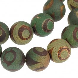 Stone Beads - 10mm Round - Dark Matte Dzi Agate Green Eye (strand)