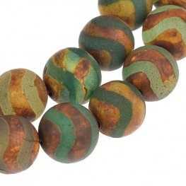 Stone Beads - 12mm Round - Matte Dzi Agate Green Wave (strand)