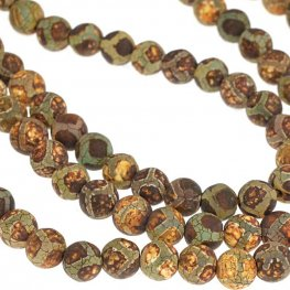 Stone Beads - 8mm Round - Dark Matte Dzi Agate Circle Pattern (strand)