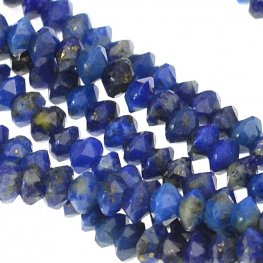 Stone Beads - 3mm Diamond Cut Faceted Saucer - Lapis (strand)