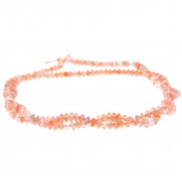 Stone Beads - Faceted Saucer - Sunstone (strand)