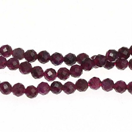 Stone Beads - 2mm Faceted Round - Ruby (strand)
