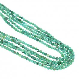 Stone Beads - 2mm Faceted Round - Turquoise (strand)