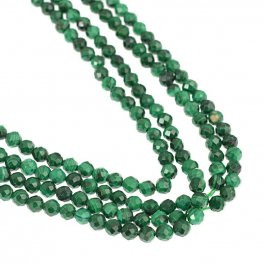 Stone Beads - 4mm Faceted Round - Malachite (strand)