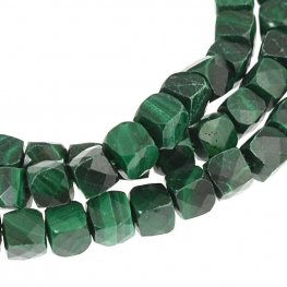 Stone Beads - 4mm Faceted Cubes - Malachite (strand)