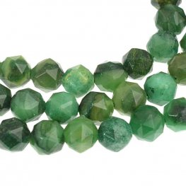 Stone Beads - 6mm DH Faceted Round - Verdite (strand)