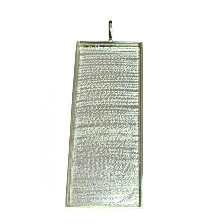 Resin Tray Rectangle Pendant 90mm - Bright Silver