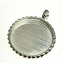 Resin Bezel Tray - Round Pendant - Rope Pattern - Bright Silver
