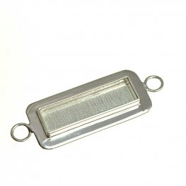 Resin Bezel Tray - Lipped Rectangle Link - Bright Silver