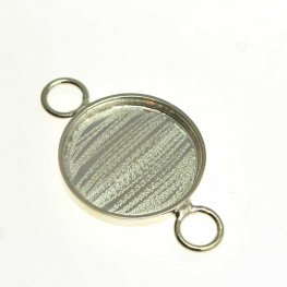 Resin Bezel Tray - Round Link - Bright Silver