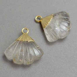 Stone Pendant - Carved Fan-shape with Cap - Rutile Quartz - Goldplated