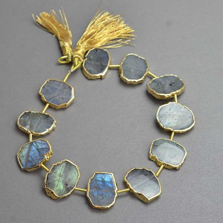 Stone - Limited Edition - Live Edge Slabs - Labradorite - Goldplated (strand)