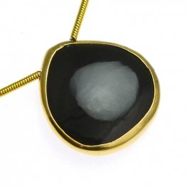 Stone - Limited Edition - Polished & Druzy Tear Drops - Black Agate - Goldplated (strand)