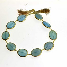 Stone - Limited Edition - Faceted Ovals - Chalcedony - Goldplated (strand)