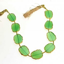 Stone - Limited Edition - Live Edge Slabs - Green Onyx - Goldplated (strand)