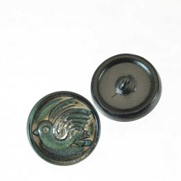 Czech Glass Button - 18mm Round Birdie - Antiqued Tourmaline
