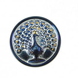 Czech Glass Button - 33mm Magnificent Peacock - Accented Navy Blue