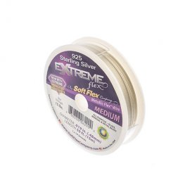Softflex (tm) Beading Wire - 50ft .019 (Medium) - Extreme Sterling Silver (Spool)