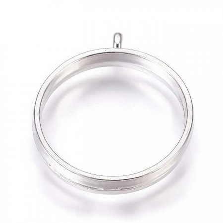 Open Bezel / Frame - 25mmID Round Pendant with Loop - Bright Silver (10)