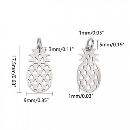 Charm - Pineapple - Rainbow Stainless Steel (2)
