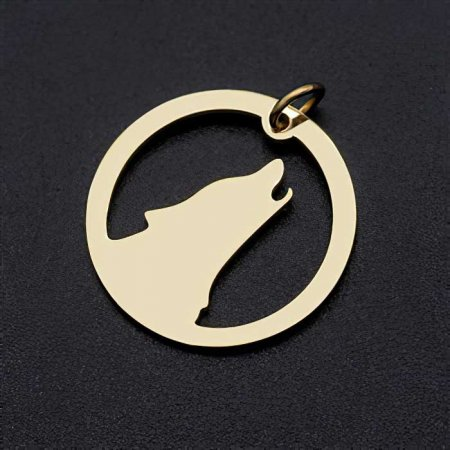 Charm/Pendant - Howling Wolf - Gold Plated (over Stainless Steel) (2)