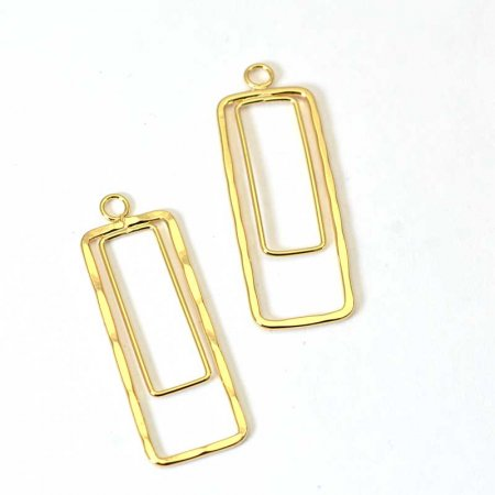 Pendant - Rectangles - Bright Gold Plated