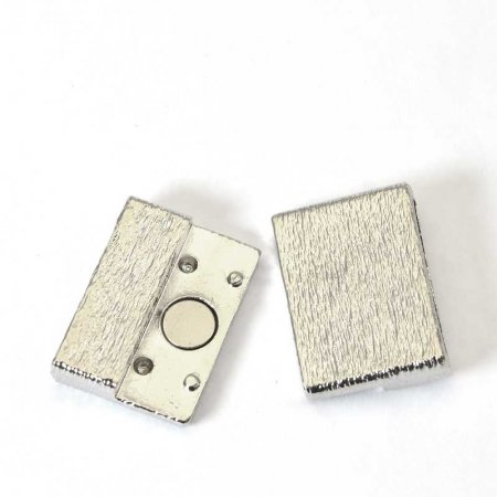 Magnetic Clasp for Flat Leather - ID 20mm Brushed Square - Silverplated