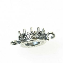Stone Setting - ID 7.2mm Crown Picot Bezel Bracelet Link - Antiqued Silver (2)
