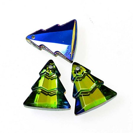 Glass Pendant - Evergreen Trees - Crystal Green Sphinx (2)