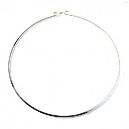 Torq Necklace - Flat Wire Circle - Bright Silver