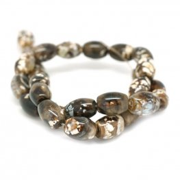 Stone Beads - 14mm Rice - Brown Terra Agate (strand)