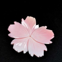 Pendant - Freeform Carved Flower - Pink and Cream Shell