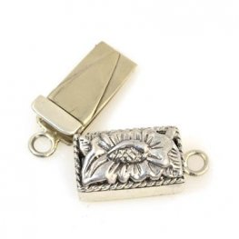 Box Clasp Flower Box 19mm - Sterling