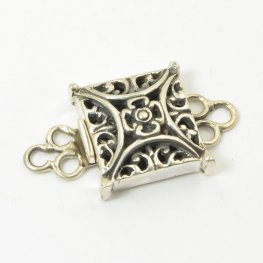 Box Clasp Filigree Square Intersection - Sterling