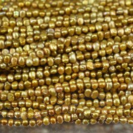 Freshwater Pearls - 4.5mm Baroque Oval Pearl - Old Gold (strand)