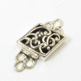Box Clasp Filigree Parallelogram - Antiqued Sterling