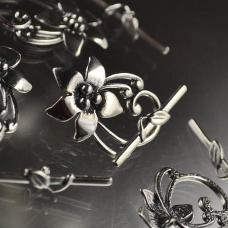 Toggle Clasp Frilly Lily - Sterling Silver
