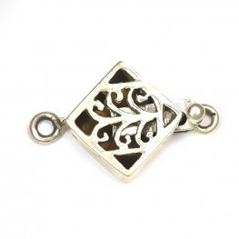 Box Clasp Diagonal Square Filigree 18mm - Sterling