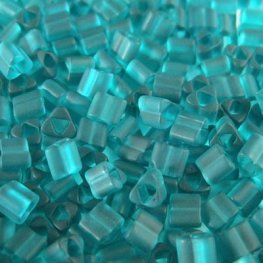 Japanese Seedbeads - 8/0 Toho Triangles - Frosted Transparent Teal