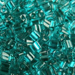 Japanese Seedbeads - 8/0 Toho Triangles - Transparent True Teal