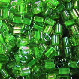Japanese Seedbeads - 8/0 Toho Triangles - Inside Colour Jonquil/Shamrock Lined