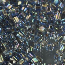 Japanese Seedbeads - 8/0 Toho Triangles - Inside Colour Gold/Blue AB