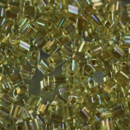 Japanese Seedbeads - 8/0 Toho Triangles - Inside Colour Gold/Soft Green AB