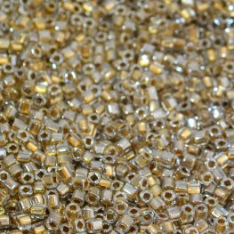 Japanese Seedbeads - 1.5mm Toho Cubes - Gold Lined Crystal
