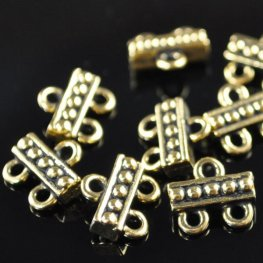 Metal Connector - 1:2 Beaded Bar - Antique Gold
