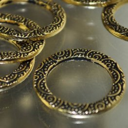 Findings - Link - 19mm Spirals Flat Round Ring - Antique Gold