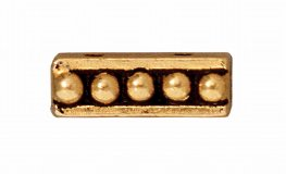 Findings - Separator/Connector - 2-Hole Beaded Bar - Antique Gold