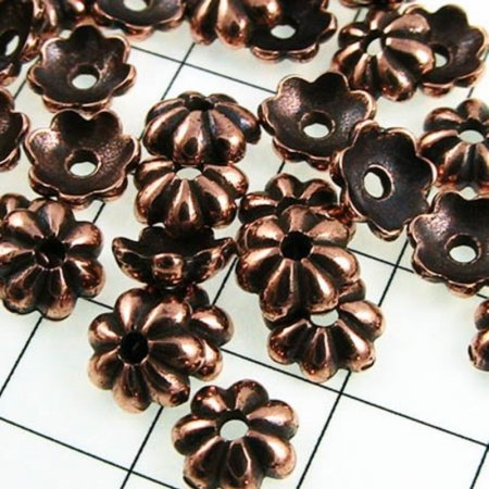 Bead Cap Petal 5mm - Antique Copper