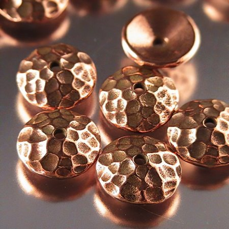 Bead Cap Hammered Dome 10mm - Antique Copper