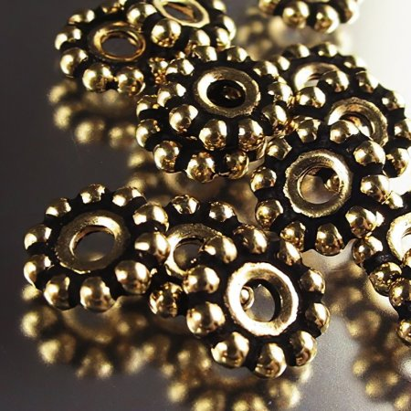 Metal Beads - Big Hole - 10mm Large Hole Beaded (Daisy) Spacer - Antique Gold